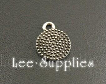 30pcs Antique Silver Alloy Round Charms Pendant A1186