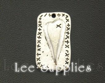 10pcs Antique Silver Alloy Patchwork Heart Charms Pendant A1080