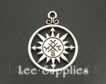 10pcs Antique Silver Alloy Compass Charms Pendant A765