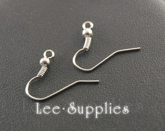 50pcs Rhodium Alloy Earring Hooks, French Earwire With Ball And Coil Earring Findings A137