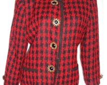 Vtg CHANEL Style Boucle Tweed Houndstooth Chenile Jacket - Black FRENCH PASSEMENTERIE Trim - Nordstrom Label