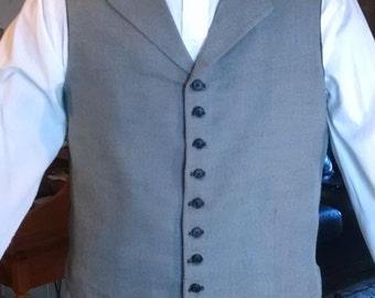 Grey Wool Steampunk Vest