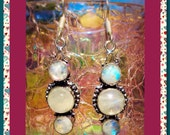 SALE!! Women's Sterling Silver Pink Opalescent Rainbow Moonstone Natural Crystal Gemstone Dangle Earrings, Unique Gifts, Boho Accessories