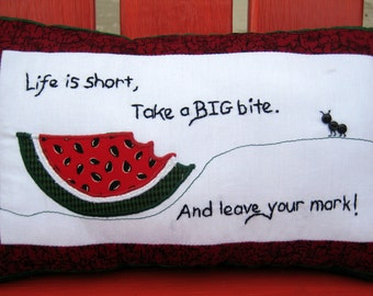 Summer Pillow, Watermelon & Ant Handmade Pillow, Accent Pillow With Words,  Decorative Pillow, Bedroom Decor Pillows, Applique Pillow Gift