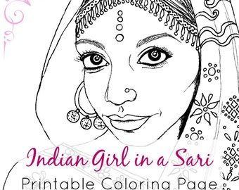 Indian Girl | Adult Coloring Book Page Printable | Digital Stamp | Culture Coloring