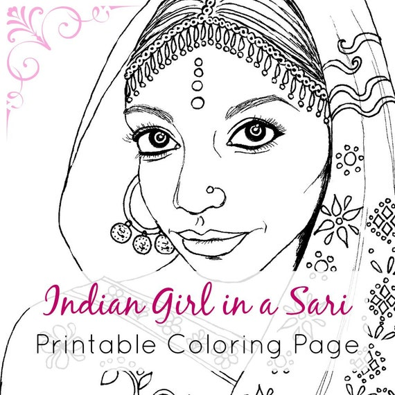 Indian girl adult coloring book page printable digital for Girl indian coloring pages