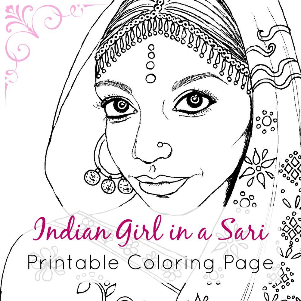indian coloring book page printable digital