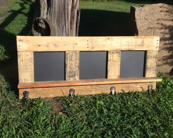 Rustic Farm Coat Rack with Chalkboard