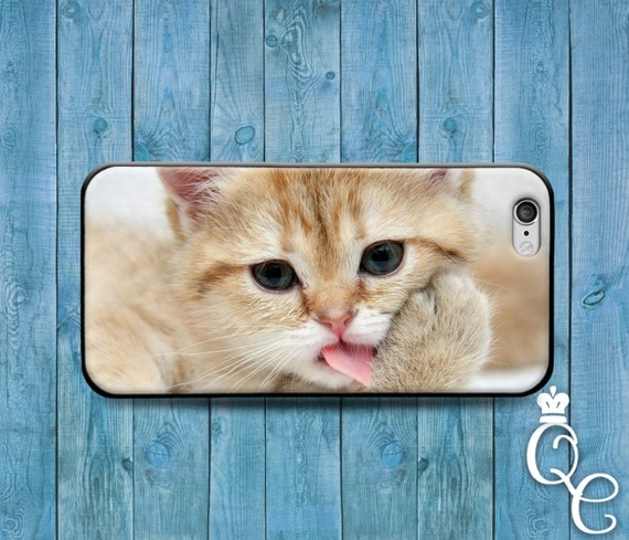 iPhone 4 4s 5 5s 5c SE 6 6s 7 plus iPod Touch 4th 5th 6th Generation Cover Case Adorable Kitten Kitty Cat Paw Lick Cute Funny Animal Baby