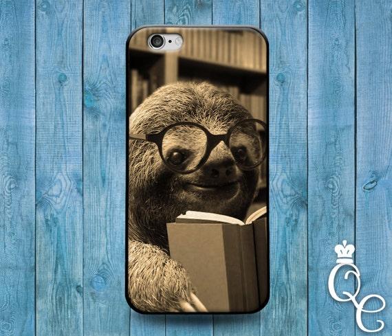 iPhone 4 4s 5 5s 5c SE 6 6s 7 plus iPod Touch 4th 5th 6th Gen Cover Funny Baby Sloth Reading Book Cute Cover Nerd Geek Animal Love Dork Case