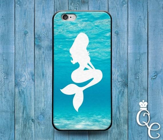 iPhone 4 4s 5 5s 5c SE 6 6s 7 plus iPod Touch 4th 5th 6th Gen Beautiful White Mermaid Silhouette Phone Case Cute Teal Ocean Girly Girl Cover