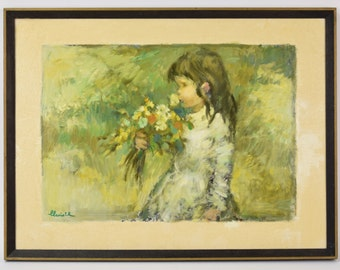 "1970's Impressionist Oil Painting ""May"" Little Girl Smelling Wildflowers signed"