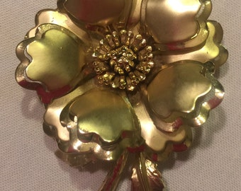 Gold-tone 3D Flower Brooch