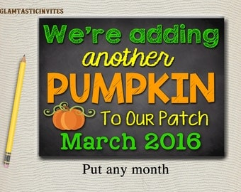 Fall Baby Announcement - Pumpkin Patch, Baby Reveal Pregnancy Announcement Chalkboard Halloween Banner Sign Prop, Fall Baby Annoucement DIY