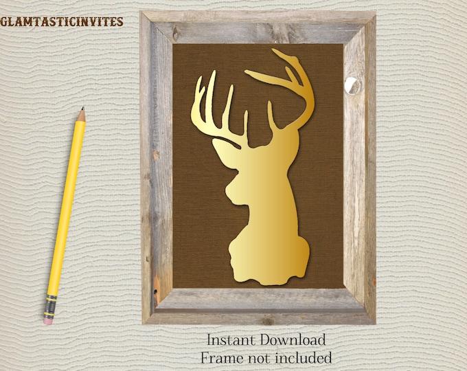 Deer Print, Deer Print 8x10 Instant Download, Deer Silhouette, Nursery Decor, Home Decor, Rustic Decor, Rustic Print, Deer Artwork, Digital