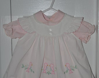 Vintage Baby Jog Pink and White Baby Dress