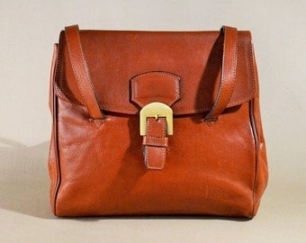 Vintage Cognac Leather Bag, Shoulderbag, Gamak Paris