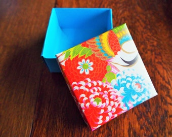 Red and blue floral origami gift box with lid--for small Christmas gifts, birthday presents, jewellery, chocolates, trinkets
