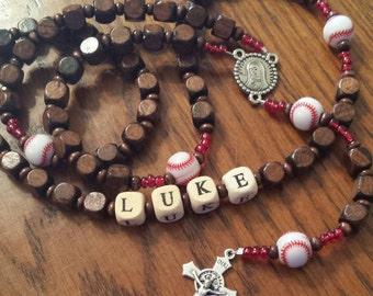 Wooden Baseball Rosary