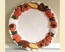 Vintage Thanksgiving Platter By Asia Master Group, Large Thanksgiving Platter, Round Thanksgiving Platter,Ceramic Fall Platter With Pumpkins
