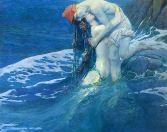 Mermaid Ocean Sea by Pyle Fine Art Poster Repro FREE SHIPPING in USA