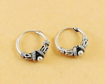 925 Sterling Silver 12mm Carved Hoops Earrings