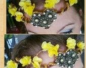 Handmade Bohemian Yellow Daisy Flower Crown Circlet with Swarovski Crystal Accent