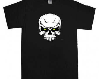 Glow in the dark eyes skull T-shirt Black, available in S,M,L,XL,XXL