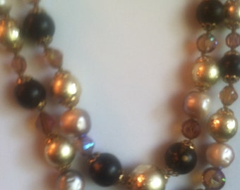 Fabulous Gold, Pearl and Crystal Necklace