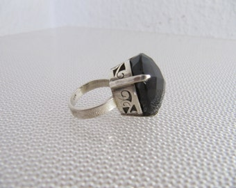 marvelous silver ring from the seventies - large silver RING 925 with stone - 70s