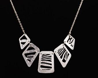 zebra squares necklace
