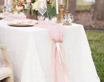 Beautiful Blush Chiffon Table Runner. Great for Weddings and any other Celebrations!
