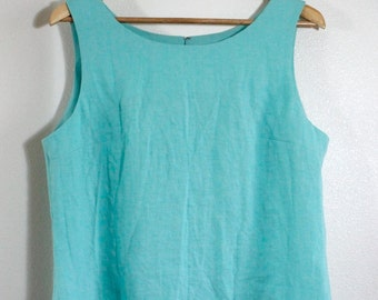 100% Aquamarine Linen Sleeveless Tunic Turquoise Blouse for Messianic Hebrew Roots Women - Deborah Tunic