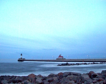 Icy Spring Dusk in Duluth Harbor