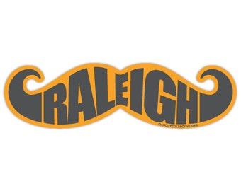 North Carolina NC Raleigh Mustache Sticker – Orange/Grey