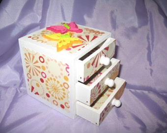wooden decorated butterfly 3 drawer box