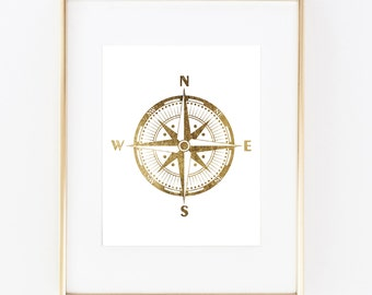Gold Foil Compass Nautical Sea Ocean Print Wall Art Home Office Decor Bedroom Kids Baby Decor Wall Decor Print Vogue White and Gold 0223