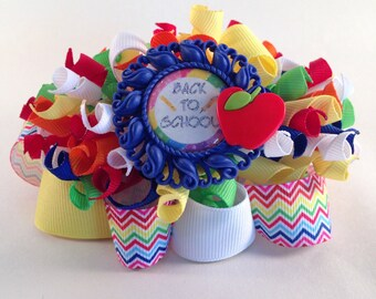 Back to School Rainbow Funky Loopy Bow