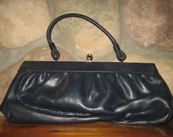 Vintage 1950s Navy Blue Leather Purse Handbag w/ interior coin purse