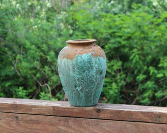 Patina and Rust Crater vase