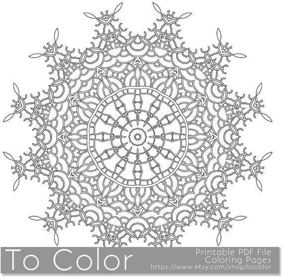 Snowflake Coloring Pages Pdf : Items similar to printable coloring pages for adults
