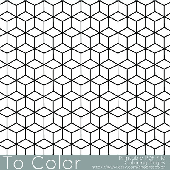 Items Similar To Printable Coloring Pages For Adults Geometric Repeating Pattern PDF JPG Instant Download Book Sheet Grown Ups On