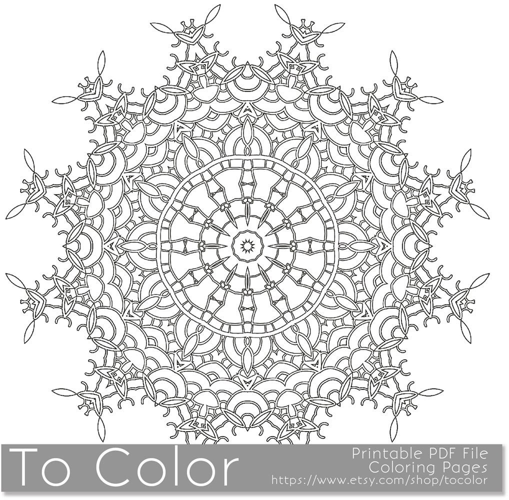 Printable coloring pages for adults mandala snowflake etsy for Snowflakes printable coloring pages