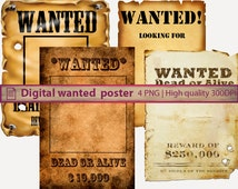 Digital Wanted poster, western cowboy rodeo, digital paper, old paper texture, scrapbooking, digital instant download, png 300dpi