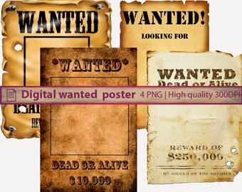 Digital Wanted poster, western cowboy rodeo, digital paper, old paper texture, scrapbooking, digital instant download, png 300dpi