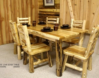 Solid Wood Hand Peeled Log Table and Chair Sets