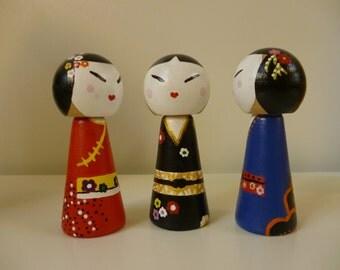 Kids Shelfie Decor, Geisha Wooden Doll Set (3), Handpainted Uniquely