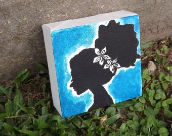 4x4 Square Mini Canvas Floral Flower Watercolor Painting Blue Black Silhouette Woman