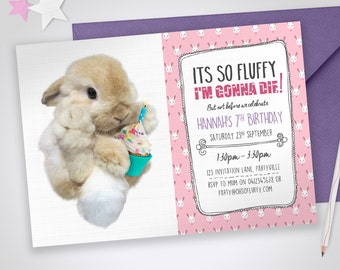 Bunny printable invitation - It's so fluffy I'm gonna die! Edit & print as many copies as you like / Cute Girls Pink Bunny Invite / Rabbit