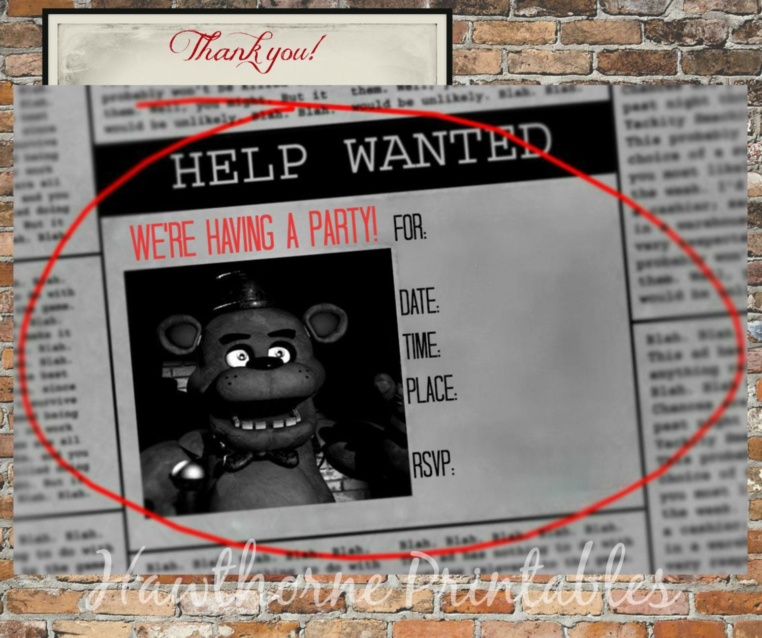 Five nights at freddy s invitations and by hawthorneprintables